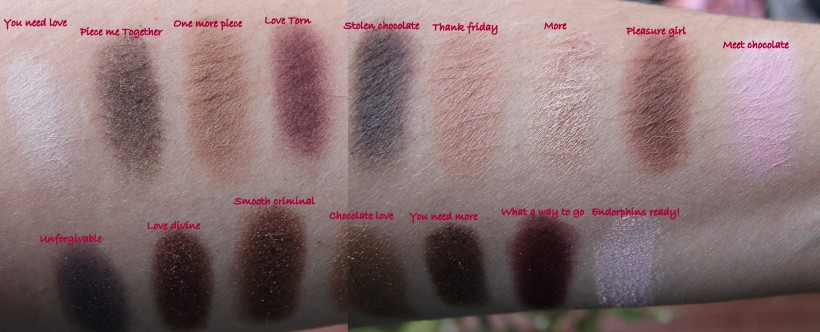 I heart chocolate Makeup Revolution swatch